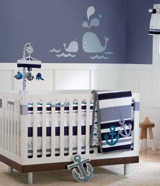 blue baby boy nautical sailboat nursery theme decorating ideas bedding and wall decor