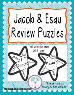 Jacob & Esau Review puzzles that can printed for students and/or enlarged for teacher's visual to review.