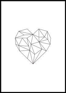 Poster met geometrische vormen van een hart