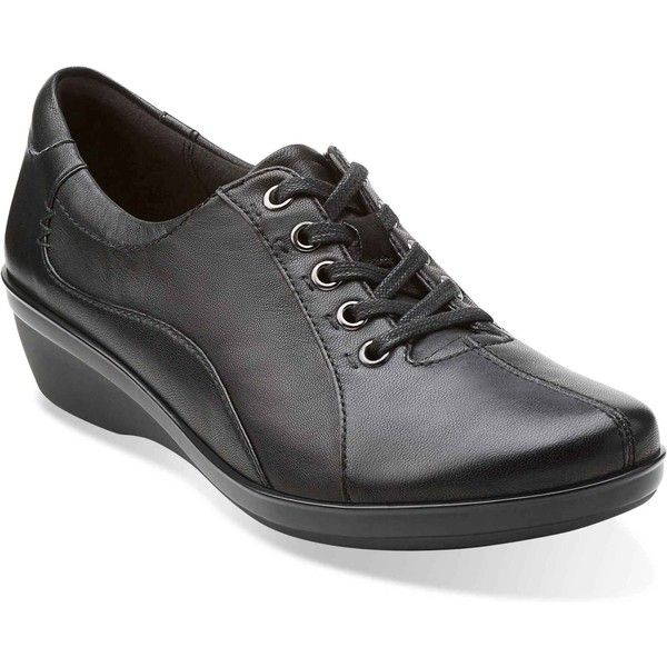 Clarks Women's Everlay Elma Black Leather Oxford Shoes ($85) ❤ liked on Polyvore featuring shoes, oxfords, black, black leather oxfords, black laced shoes, leather lace up shoes, clarks shoes and leather oxford shoes