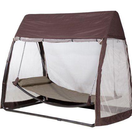 Abba patio al aire libre de la cubierta del pabellón hamaca colgante oscilación con el Mosquitera 7.6x4.5x6.7 pies, Chocolate