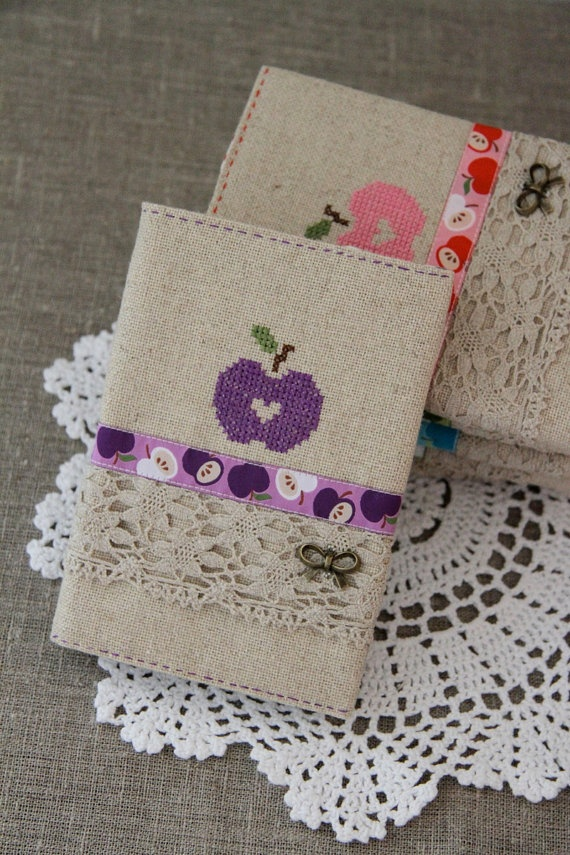 Journal cover dairy crossstitch design Apple in by Plushka on Etsy, $32.00