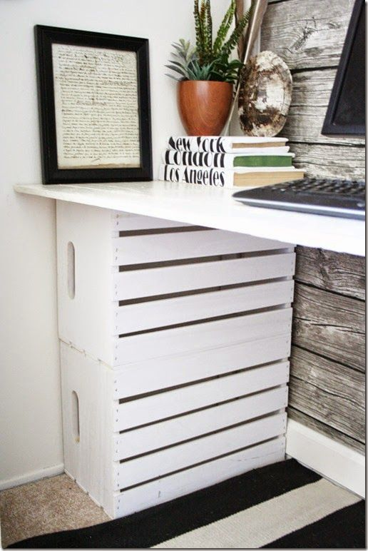 "The white crates are from Joanne Fabrics. I used them as the ""legs"" to support the desk top. I decided to turn them back side out, as I love..."