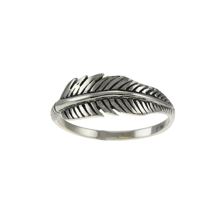 Beautiful Feather Sterling silver ring