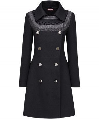 """You loved this shape last year so we've brought it back with a couple of Joe Browns extras. Contrasting jacquard neckline panels give this distinctive coat that special something. A great one for everyday wear with a versatile and super flattering cut. Approx Length: 95cm Our model is: 5'7"""""""