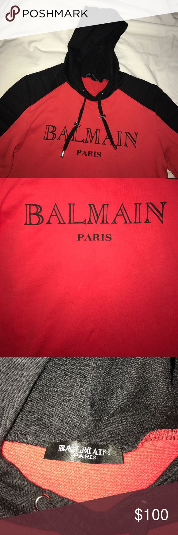 Balmain Hoodie (NOT AUTHENTIC BUT GREAT QUALITY) Balmain Hoodie worn once, still In great condition. Fits women size small, true to size.  No trades. Any questions or offers, feel free Balmain Tops Sweatshirts & Hoodies