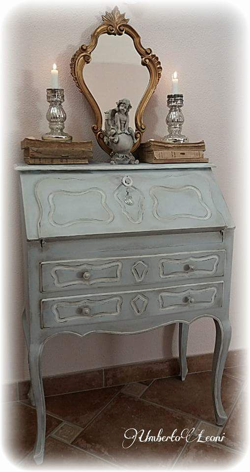 Secretaire,ribaltina shabby chic color carta da zucchero