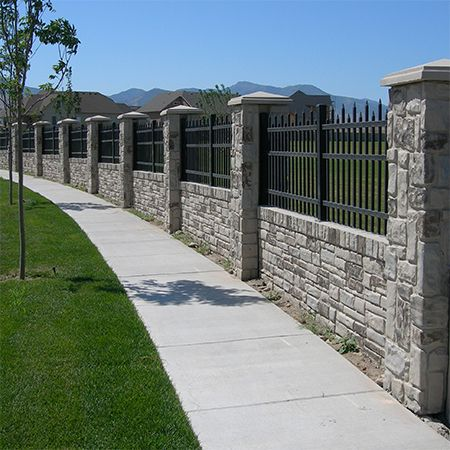 The realistic stone effect can be manufactured in a variety of patterns to match almost any architectural style and can be customised to a specific height, or to accommodate timber or steel fencing.