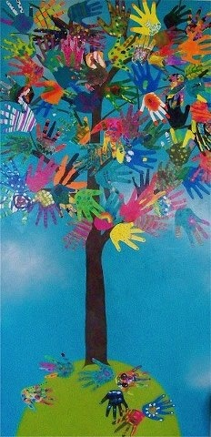 Árbol con manos: Ideas, Hands Prints, Collaborative Hands, Schools, Bulletin Boards, Hand Art, Hands Trees, Art Projects, Hands Art