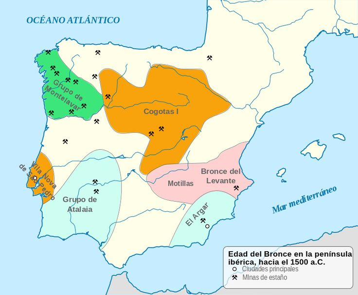 Mapa del Bronce Antiguo en España. Zona de extensión de la cultura argárica en el sudeste de la Península Ibérica.