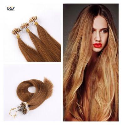 Micro Ring Hair Extensions #30 Medium Aubum Straight Wave Brazilian Hair Unprocessed Virgin Remy Nano Loop Hair Weaves 5A 100g