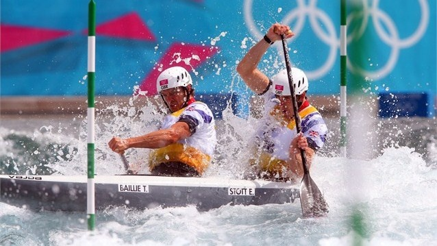 Tim Baillie of Great Britain and Etienne Stott compete in the mens`s Canoe Double