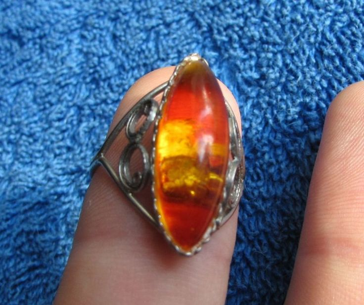 """Natural Baltic amber Red Yellow Ring polished  琥珀 Folk USSR ring size 9 """"19"""" #HandMade"""