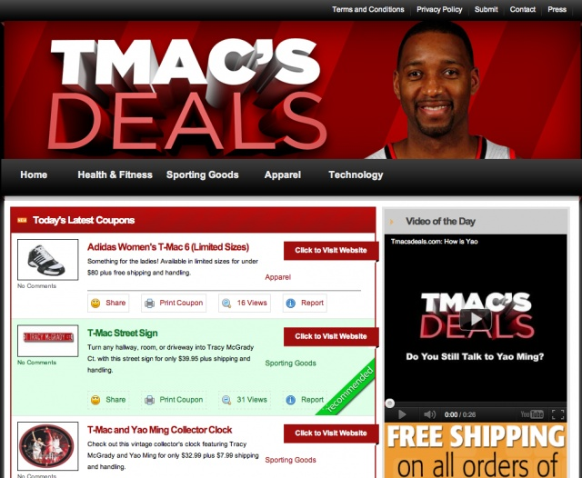 Slam Dunk Or Rimshot? NBA Star Tracy McGrady Launches His Own Daily Deal Site (This is real headline and a real story. No, seriously, it is.)