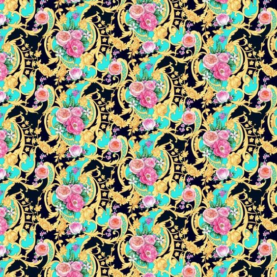 Seamless composition with roses and scrolls on blue and black background by Maria Rytova  #pattern #textile #background #backing #paper #work #纹样 #damask #арт #картинки #picture #decoupage #декупаж #дамаск #узоры #barok #baroque #wallpaper #design #卷草 #flower #图案 #фон #print #принт #printable #papel #ornament  #seamless #golden #luxury #surface #rose #floral #decorative #decor #vintage #tile #бордюр #border