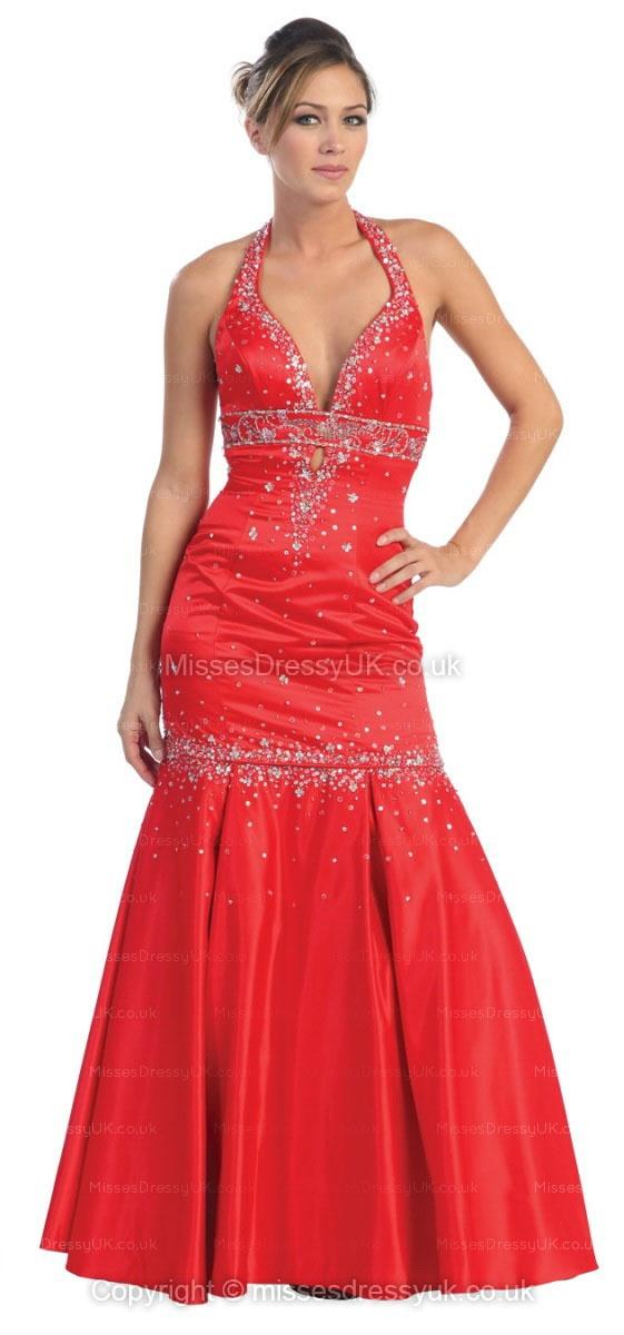 Trumpet/Mermaid Halter Satin Floor-length Red Beading Prom Dress