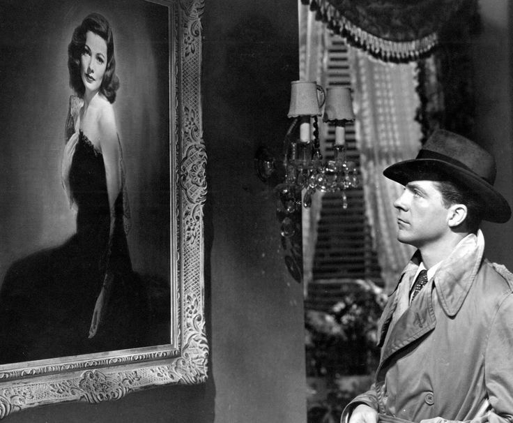 Dana Andrews contemplates the portrait of Laura (1944), portrayed by Gene Tierney. Directed by Otto Premininger.