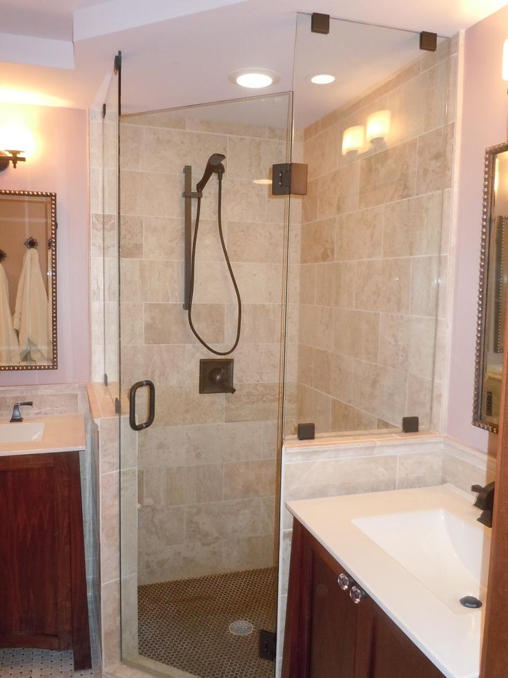 Natural stone tile shower, mosaic tile shower floor