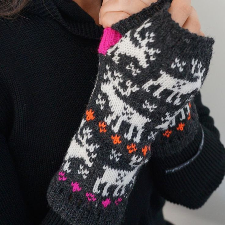 Fair isle knitted fingerless mittens with reindeer by NordicKnit on Etsy