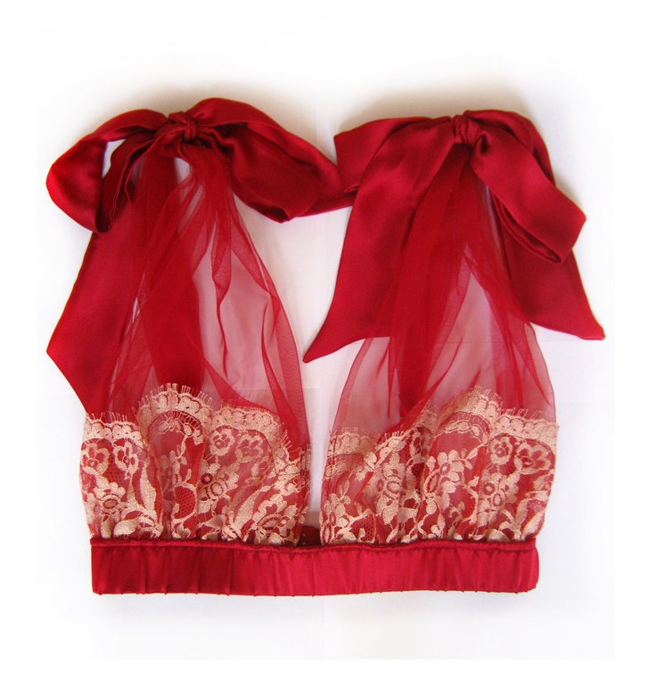 BELLE Rouge Red Grecian Lace and Tulle Bra with silk satin Bows, Christmas Holiday Gift. $120.00, via Etsy.
