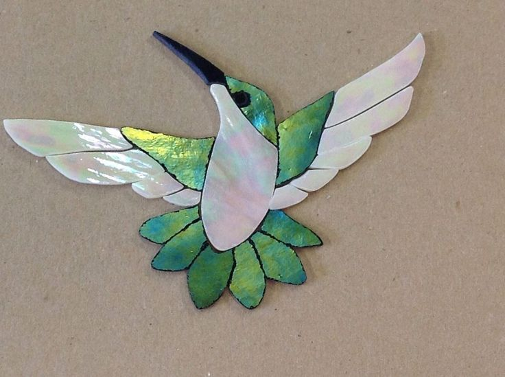 Precut Stained Glass Art Kit Female Hummingbird Mosaic Inlay Garden Stone Craft | eBay