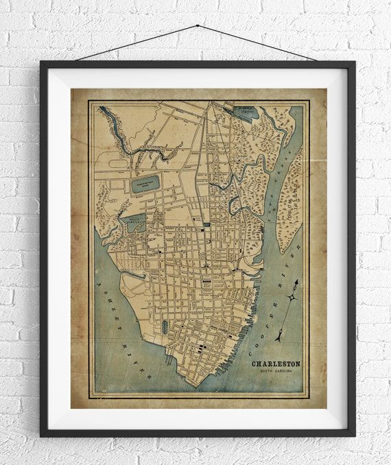 Best 25 charleston map ideas on pinterest charleston sc map charleston map print vintage map art antique map by fatfrogprints malvernweather Image collections