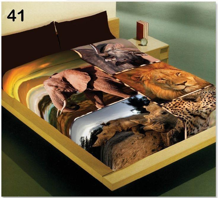 Ciepły brązowy koc akrylowy ze zwierzętami z Afryki
