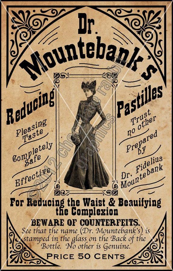 Victorian Vintage Apothecary Label Image Collage Sheet Digital Download Image Reducing Pastilles. $3.75, via Etsy.