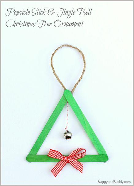 Popsicle Stick and Jingle Bell Homemade Christmas Tree Ornament~ BuggyandBuddy.com