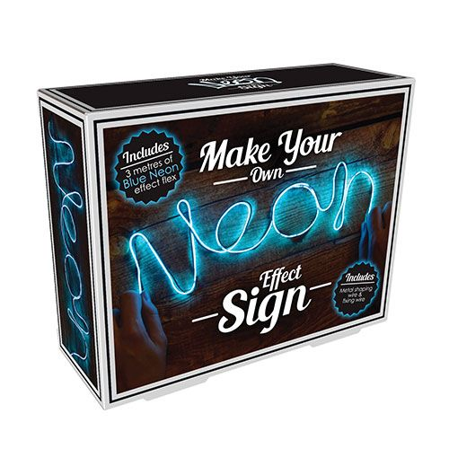 Make Your Own Blue Neon Light: Make your own neon light and bring a slice of the Vegas lights to your home. Bend the flexible wire into any shape you like and attach the light up string to make a cool customized neon sign. With 300cm of light, the possibilities are endless and there is even an enlargeable template to guide you on basic shapes and lettering should you need it. Your neon sign also has three modes of illumination; on, flashing and rapid flashing. Perfect for a putting on a m...