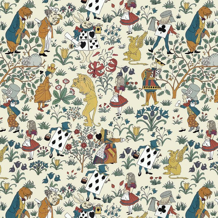 The iconic characters of Alice in Wonderland are brought to life on this children's wallpaper. A print originally designed by Arts and Crafts artist...
