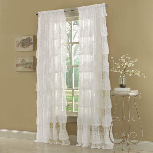 63 white priscilla layered ruffled lace curtain panel