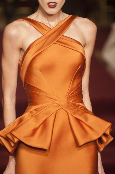 Zac Posen Fall 2013. What a beautiful orange color. With my black hair... I could still represent the SF Giants AT THE OSCARS. #winning