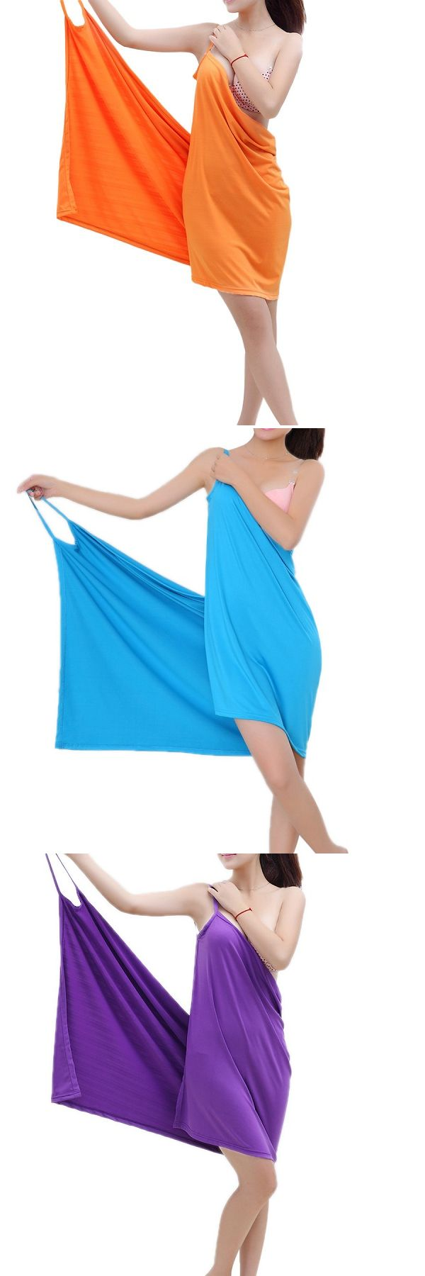 Summer Beach Soft Ice Silk Sexy Hot Able Wear Deep V Spa BathRobe Bath Towel Women Skirt
