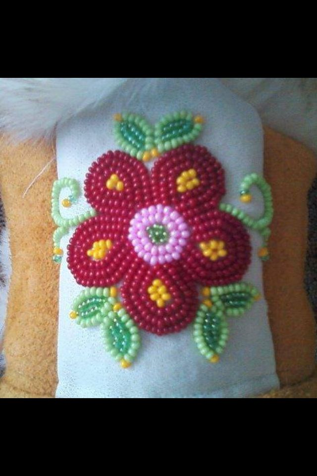 Cree flower beadwork for a pair of mukluks