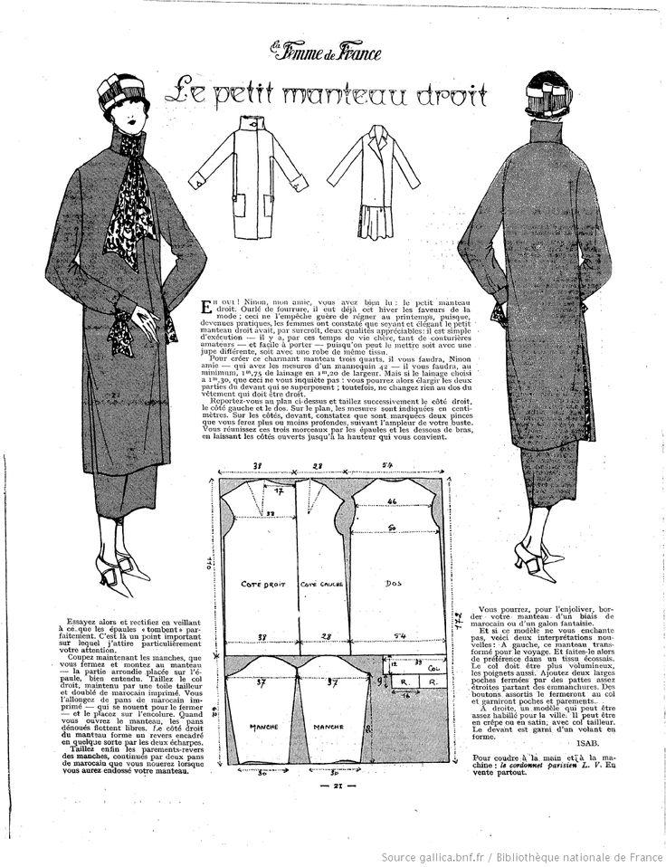 Manteau droit (La Femme de France 24/02/1924)