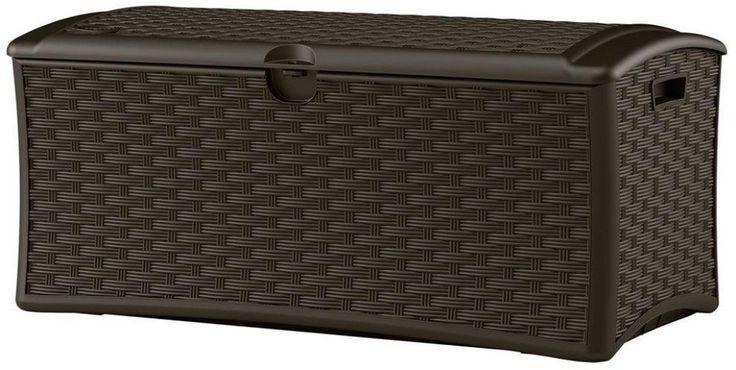 Suncast 72 gallon Storage Resin Wicker Outdoor Patio Portable Deck Box #Suncast #Furniture #Patio #Storage #Chair #Seat