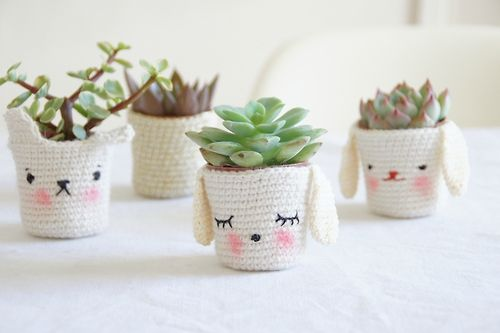 cute home decor puppy crochet cozy bunny succulent for the home pot cover