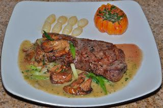 Chef JD's Classic Cuisine: Grass Fed Organic Beef NY Strip Steak with Chanter...