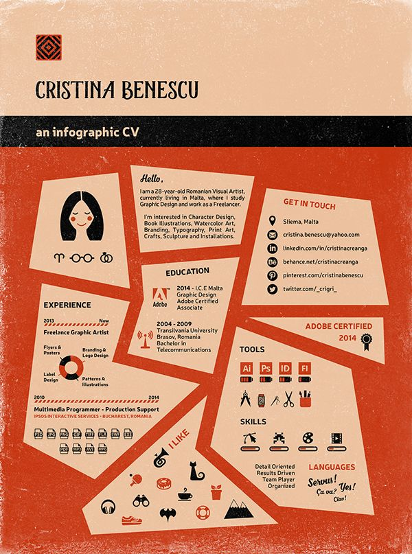 Cristina Benescu [an infographic CV] on Behance