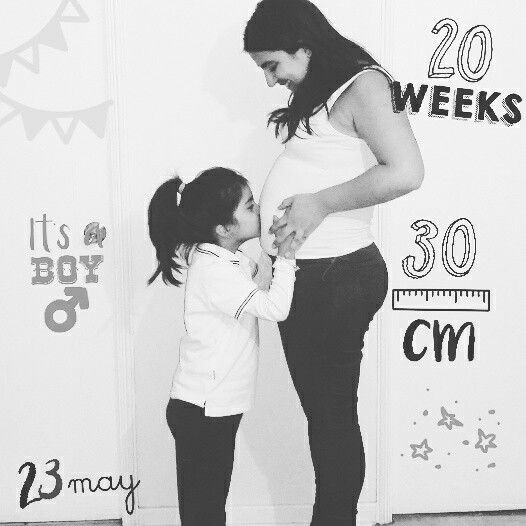 Foto semana a semana del embarazo / Pregnancy pictures week by week. 20 weeks with big and beautiful sister