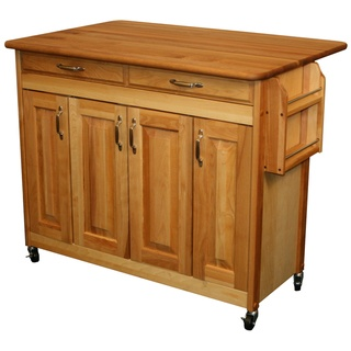 @Overstock - This rugged Catskill Craftsman kitchen island is constructed of durable and good-looking yellow birch with nickel-finished hardware. A butcher block top and plenty of storage space makes this movable island the perfect addition to any kitchen.   http://www.overstock.com/Home-Garden/Catskill-Craftsman-Butcher-Block-Drop-Leaf-Kitchen-Island/7182875/product.html?CID=214117 $568.99