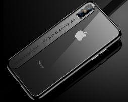Silikónový transparentný kryt pre iPhone X s čiernymi okrajmi.