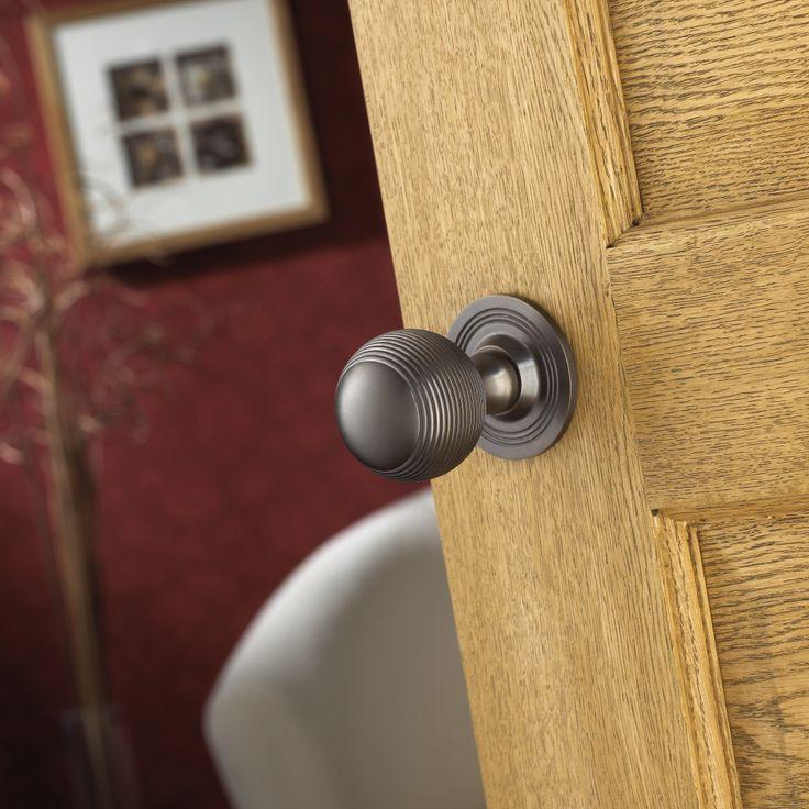 Photo Image Ribbed oiled bronze finish passage set knob from Samuel Heath Birmingham UK