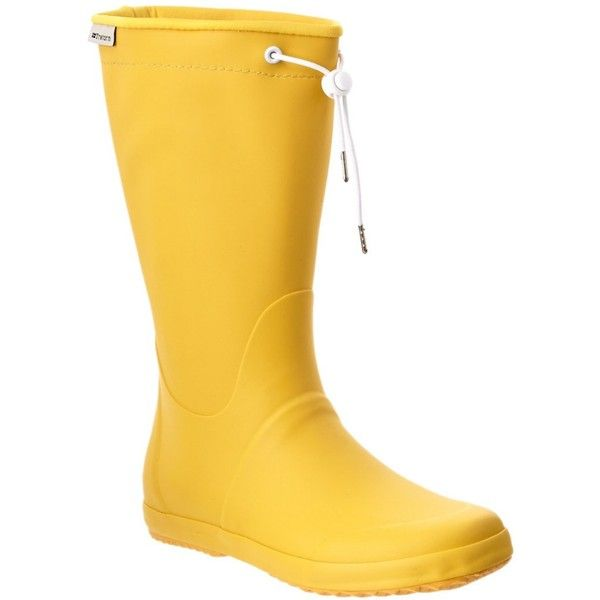 Tretorn Tretorn Viken Rain Boot (398199201) ($30) ❤ liked on Polyvore featuring shoes, boots, yellow, rubber sole boots, tretorn boots, yellow wellington boots, rubber boots and traction shoes