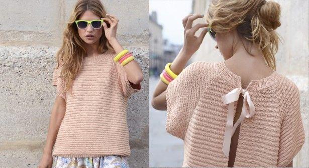 Modèle gratuit : Un pull blouse rose poudré de Phildar - prima.fr