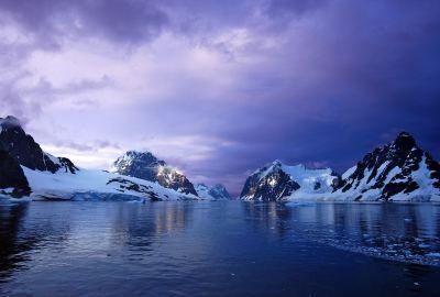 Antarctica Mountains Sunset Ocean Snow