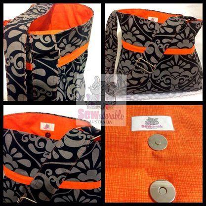 Divine damask, neon orange bag tote. Made by www.facebook.com/sewadorableaustralia