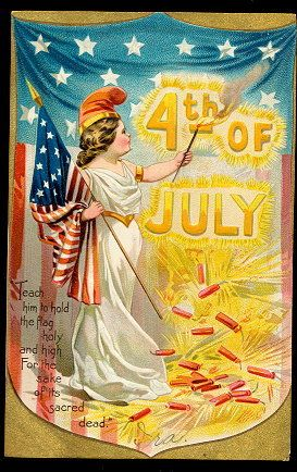 Tucks July 4th Girl with Flag 1907 Postcard #vintagepostcards www.rubylane.com