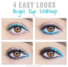 4 Easy Eye Makeup Looks Using Bright Color - blue eyeliner, brwon eyes